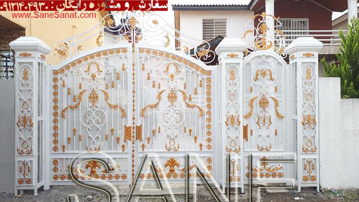 درب لوکس مدل پیچک یک عروس با لباس سفید در شهرک توریستی در شمال برای درب ویلا در ونوش برای درب حیاط و درب پارکینگ 09121404930